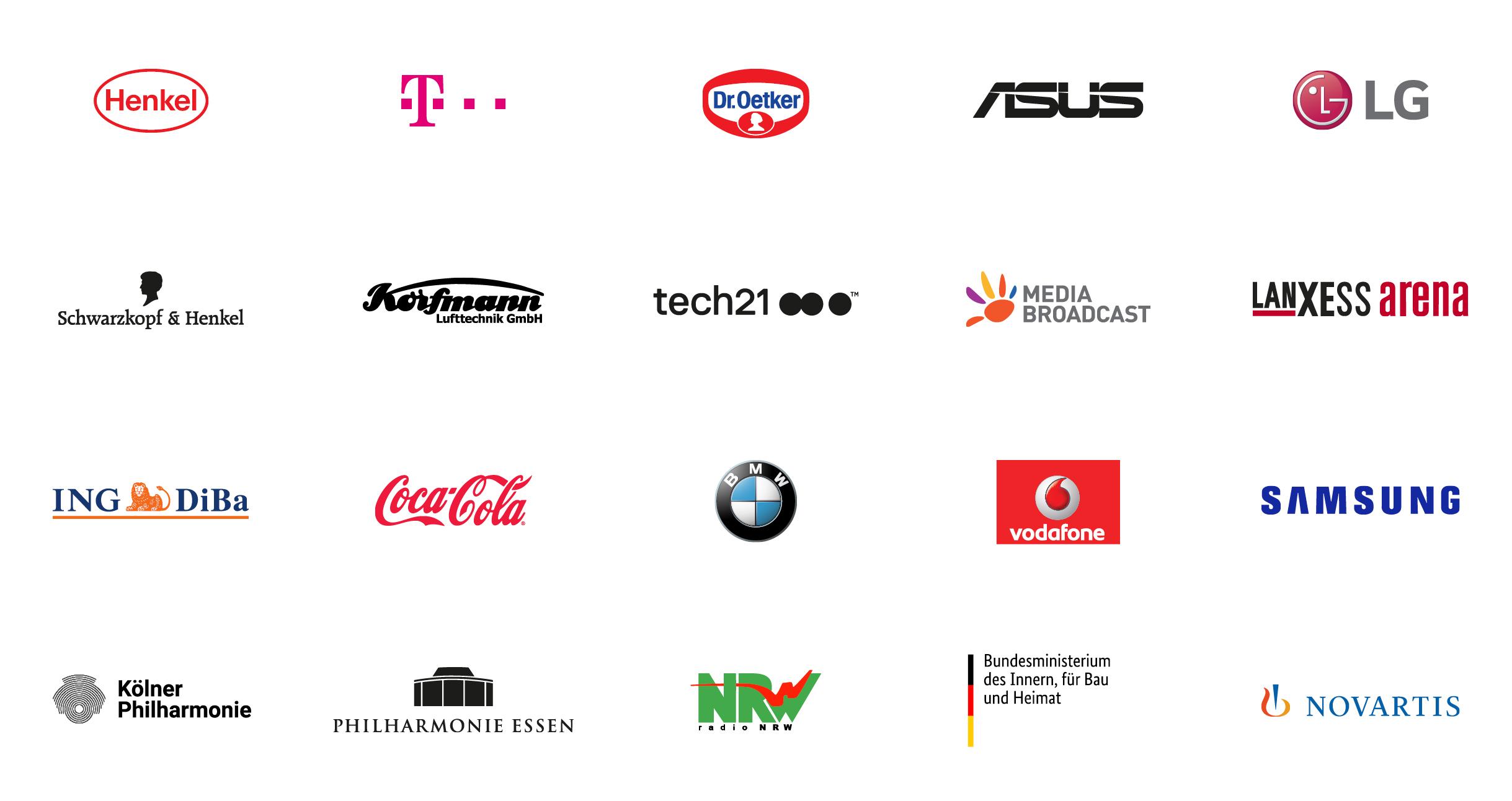 Henkel, Telekom, Dr. Oetker, Asus, LG, Schwarzkopf, Korfmann, Tech 21, Media Broadcast, Lanxess Arena, Ing Diba, Coca Cola, BMW, Vodafone, Samsung, Kölner Philharmonie, Philharmonie Essen, Radio NRW, Bundesministerium des Innern, Novartis
