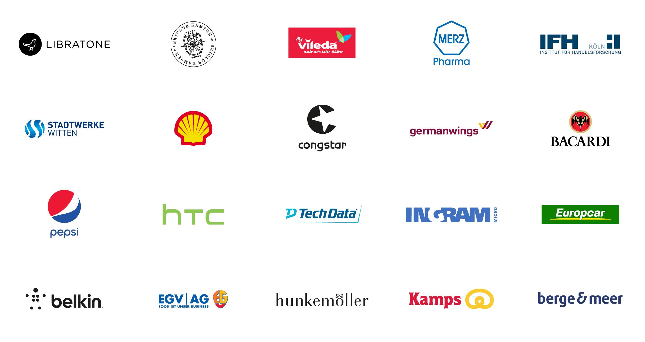 Libratone, Skiclub Kampen, Vileda, Merz Pharma, IFH Köln, Stadtwerke Witten, Shell, Congstar, Germanwings, Bacardi, Pepsi, HTC, TechData, Ingram Micro, Europcar, Belkin, EGV Unna, Hunkemöller, Kamps, Berge & Meer