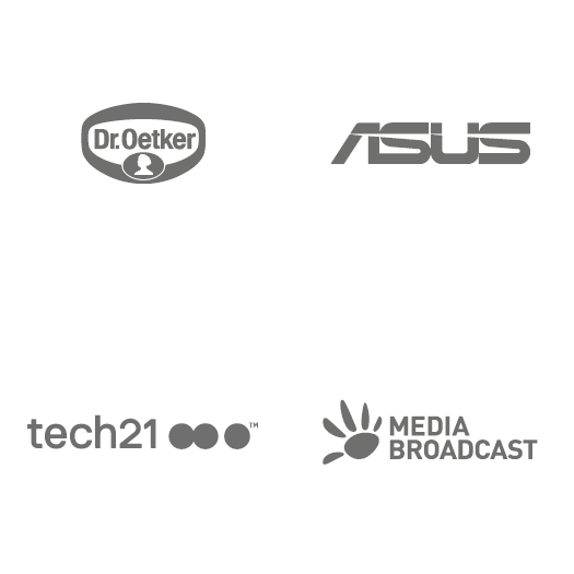 Logos: Dr. Oetker, Asus, tech 21, Media Broadcast