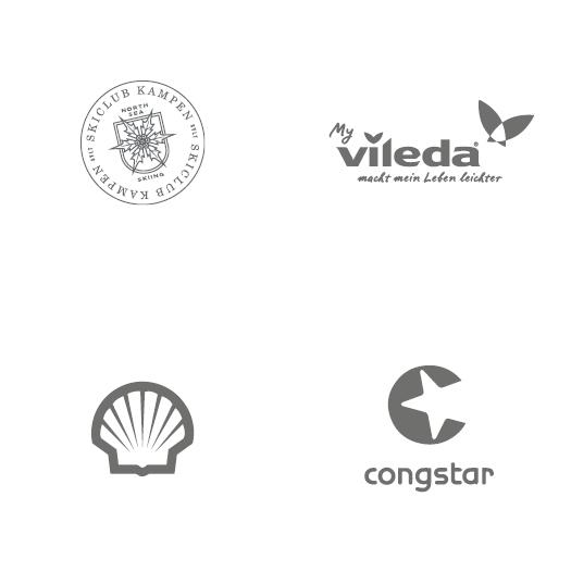 Logos: Skiclub Kampen, Vileda, Shell, Congstar