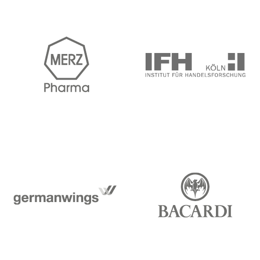 Logos: Merz, IFH, Germanwings, Bacardi