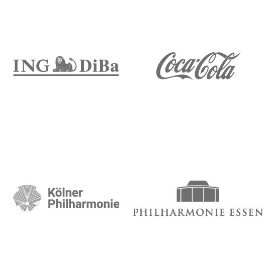 Logos: Ing. Diba, Coca Cola, Kölner Philharmonie, Philharmonie Essen