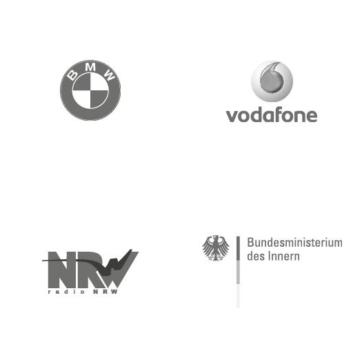 Logos: BMW, Vodafone, Radio NRW, Bundesministerium des Innern