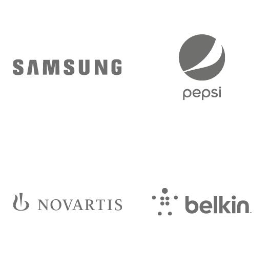 Logos: Samsung, Pepsi, Novartis, Belkin
