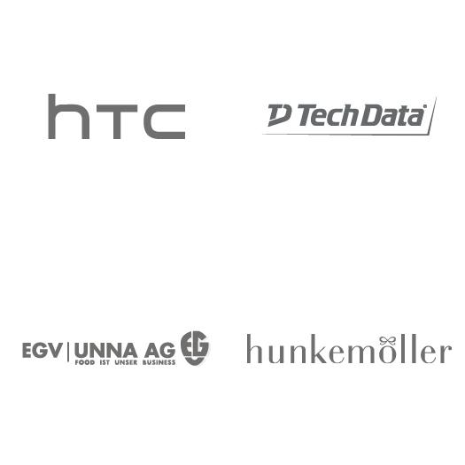 Logos: HTC, TechData, EGV Unna AG, Hunkemöller